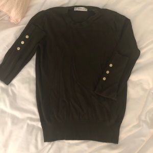 Zara Green Sweater with Gold Button Detailing